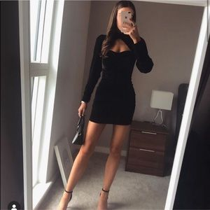 Zara black velvet mini dress